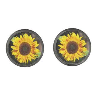 Bright Yellow Sunflower Gunmetal Finish Cufflinks