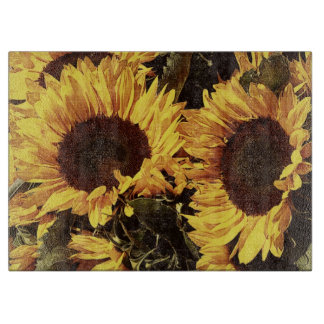 bright yellow sunflowers cutting boards