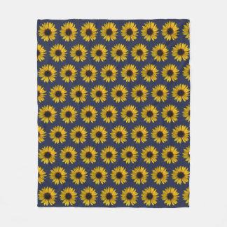 Bright Yellow Sunflowers on Blue Fleece Blanket