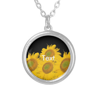 Bright Yellow Sunflowers Round Pendant Necklace