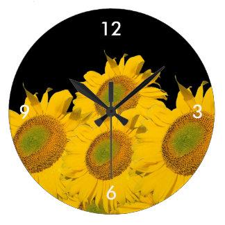 Bright Yellow Sunflowers Wall Clocks