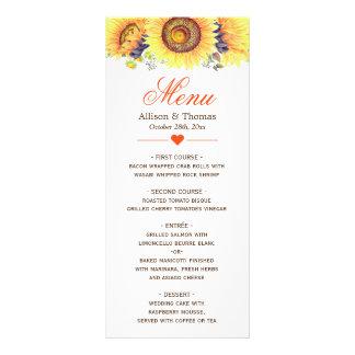 Bright Yellow Sunflowers Wedding Menu