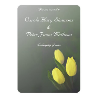 Bright Yellow Tulip Flowers Wedding Invitation