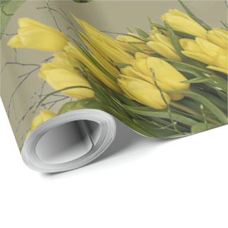 Bright Yellow Tulip With Green Leaves Wrapping Paper
