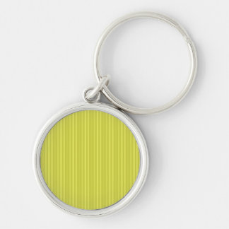 Bright Yellow Vertical Stripes Silver-Colored Round Key Ring