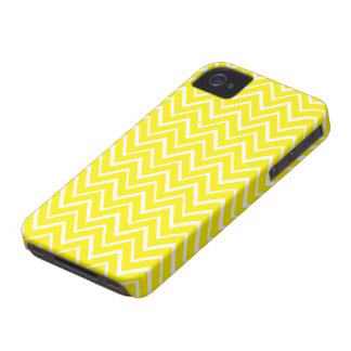 Bright yellow whimsical zigzag chevron pattern iPhone 4 case