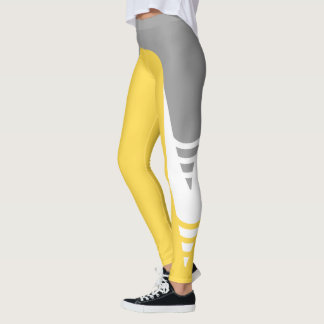 Bright Yellow/White/Grey Detail Pattern Leggings