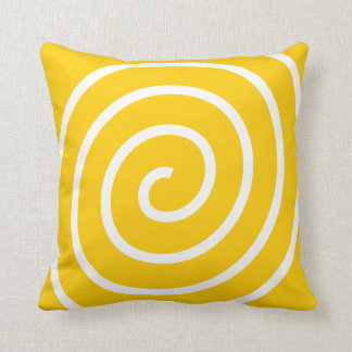 Bright Yellow With a White Spiral Cushion