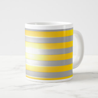 Bright Yellow with Silver Bars Large Coffee Mug