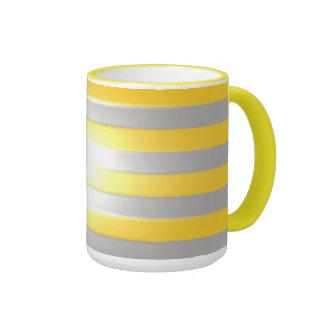 Bright Yellow with Silver Bars Ringer Mug