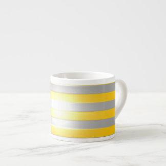 Bright Yellow with Silver Bars Espresso Mug