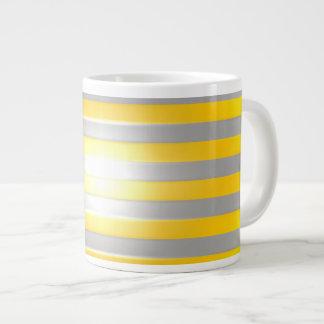 Bright Yellow with Silver Bars Jumbo Mug