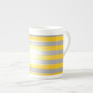 Bright Yellow with Silver Bars Bone China Mug