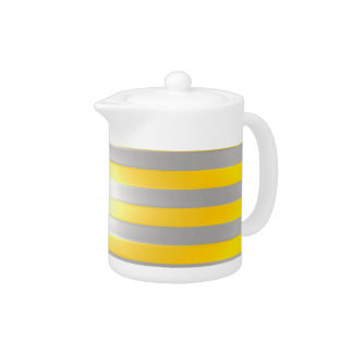 Bright Yellow with Silver Bars Tea Pot
