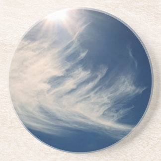 Brighten your Day Luminous Sun and Wispy Clouds Beverage Coaster