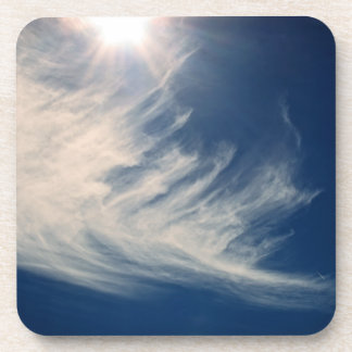 Brighten your Day Luminous Sun and Wispy Clouds Beverage Coasters