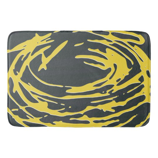 Brighter Nest Abstract Bold Yellow & Grey Bathmat