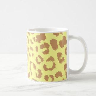 brighter yellow background leopard print mug