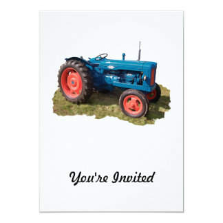 Brightly Colored Antique Vintage Tractor & Field 13 Cm X 18 Cm Invitation Card