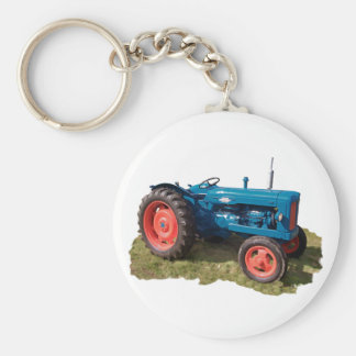 Brightly Colored Antique Vintage Tractor & Field Keychain