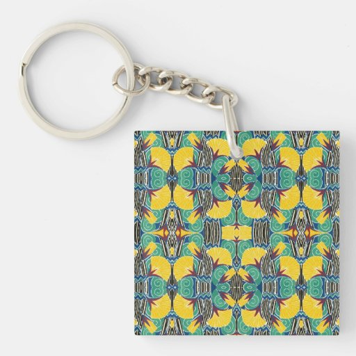 Brightly Colored Art Deco Pattern Acrylic Keychain