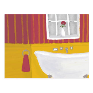 Brightly Colored Bath in Rose and Yellow Postcard