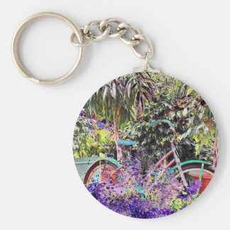 Brightly Colored Bicycle Basic Round Button Key Ring