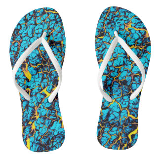 Brightly Colored Blue and Yellow Abstract Pattern Flip Flops