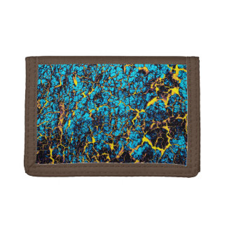 Brightly Colored Blue and Yellow Abstract Pattern Tri-fold Wallets
