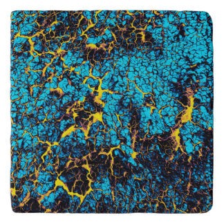 Brightly Colored Blue and Yellow Abstract Pattern Trivet