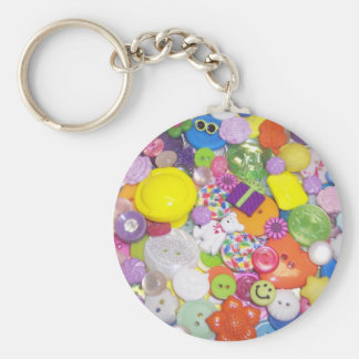 Brightly Colored Buttons Basic Round Button Key Ring