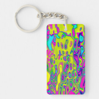 Brightly Colored Crazy Colorful Abstract Pattern Key Ring