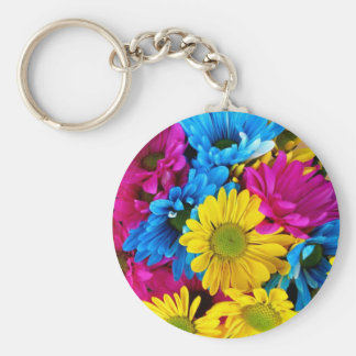 Brightly Colored Daisies Basic Round Button Key Ring