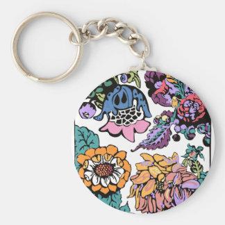 Brightly Colored Drawn Flowers Key Chain