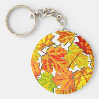 Brightly Colored Fall Leaves Key Chains