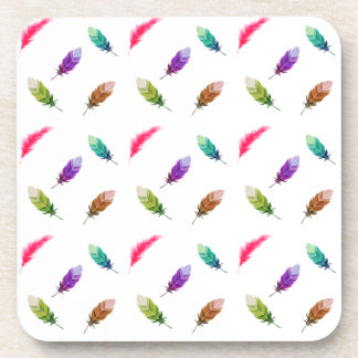 Brightly Colored Feathers On White Coaster