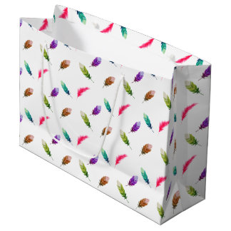 Brightly Colored Feathers On White Large Gift Bag