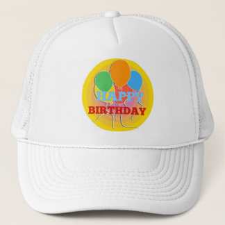 Brightly Colored Happy Birthdday Balloons Trucker Hat