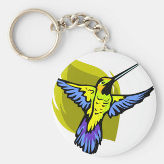 Brightly Colored Hummingbird Basic Round Button Key Ring