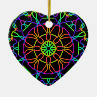 Brightly Colored Kaleidoscope Ceramic Heart Decoration