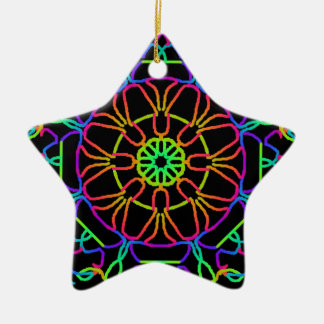 Brightly Colored Kaleidoscope Ceramic Star Decoration