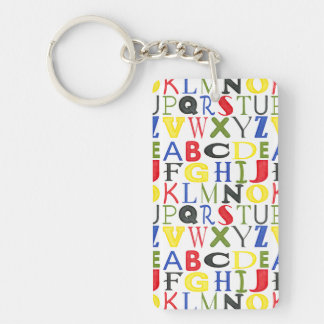 Brightly Colored Letters by Megan Meagher Double-Sided Rectangular Acrylic Key Ring
