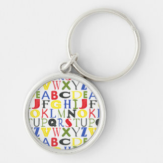 Brightly Colored Letters by Megan Meagher Silver-Colored Round Key Ring