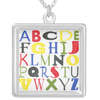 Brightly Colored Letters by Megan Meagher Silver Plated Necklace