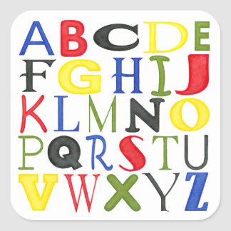 Brightly Colored Letters by Megan Meagher Square Sticker