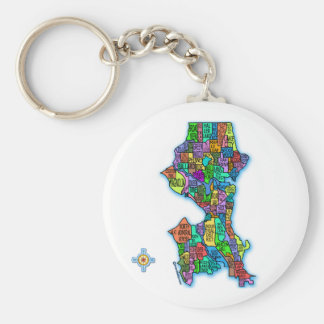 Brightly Colored Map of Seattle Basic Round Button Key Ring