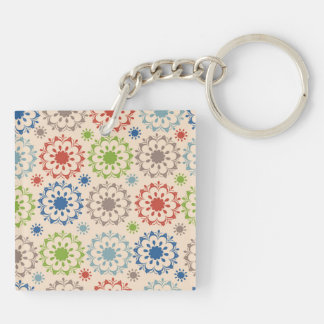 Brightly Colored Medallion Design Square Acrylic Keychain