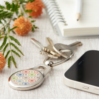 Brightly Colored Medallion Design Silver-Colored Oval Key Ring