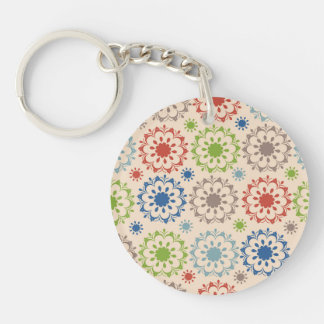 Brightly Colored Medallion Design Single-Sided Round Acrylic Key Ring