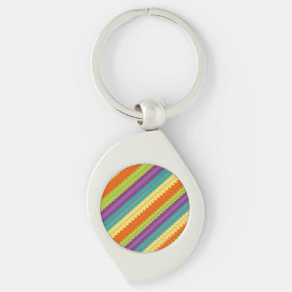 Brightly Colored Rainbow Striped Silver-Colored Swirl Key Ring
